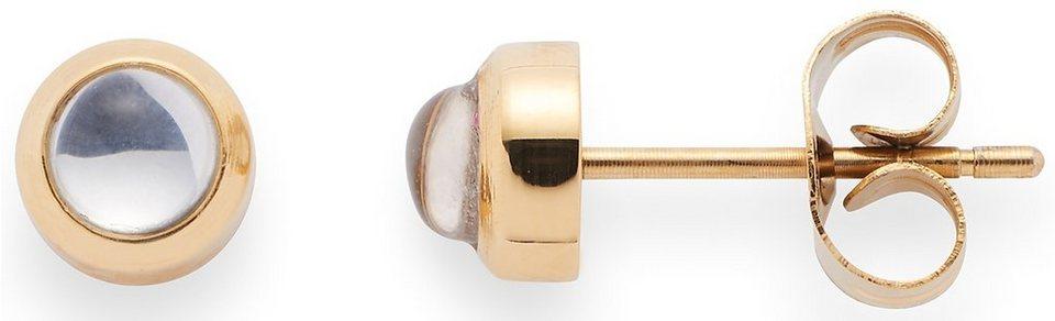 Jewels by Leonardo Paar Ohrstecker mit Glassteinen, »puntino gold/klar, 015988« in goldfarben