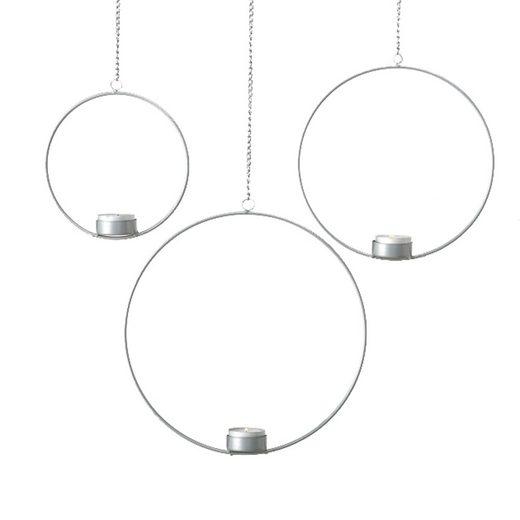 BOLTZE Teelichthalter »3tlg. Teelichthalter CIRCLE silber aus Metall zum Hängen Metallkreis (3 Größen)«