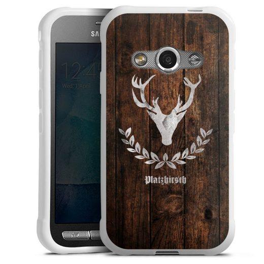 DeinDesign Handyhülle »Platzhirsch« Samsung Galaxy Xcover 3, Hülle Hirsch Holzoptik Holz