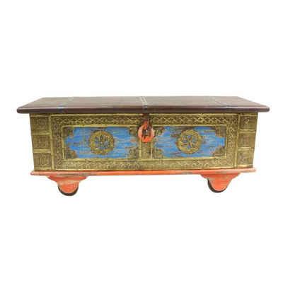 Oriental Galerie Truhe »Indische Rolltruhe Orange 117 cm«, traditionelle Herstellung in Handarbeit im Ursprungsland