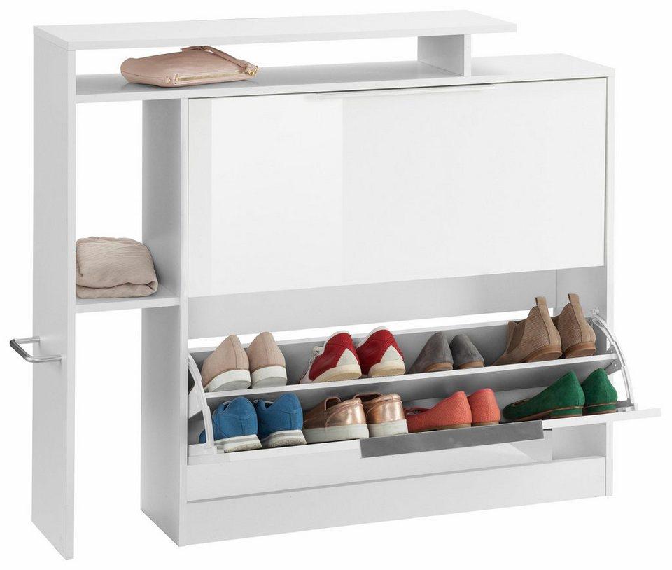 Schuhschrank »Lara« in weiß/weiß Hochglanz