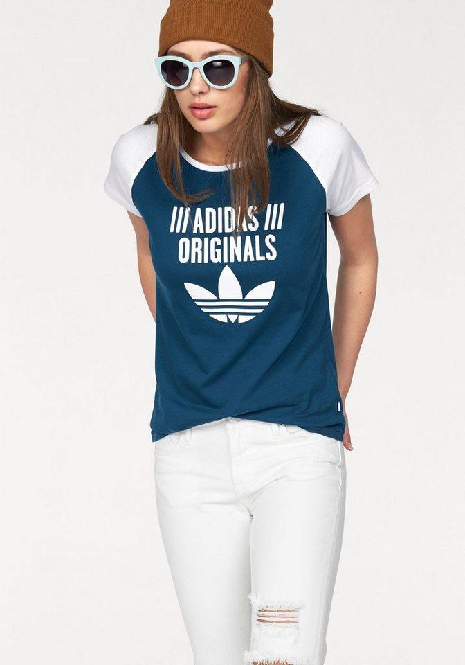 adidas Originals T-Shirt in blau-weiß