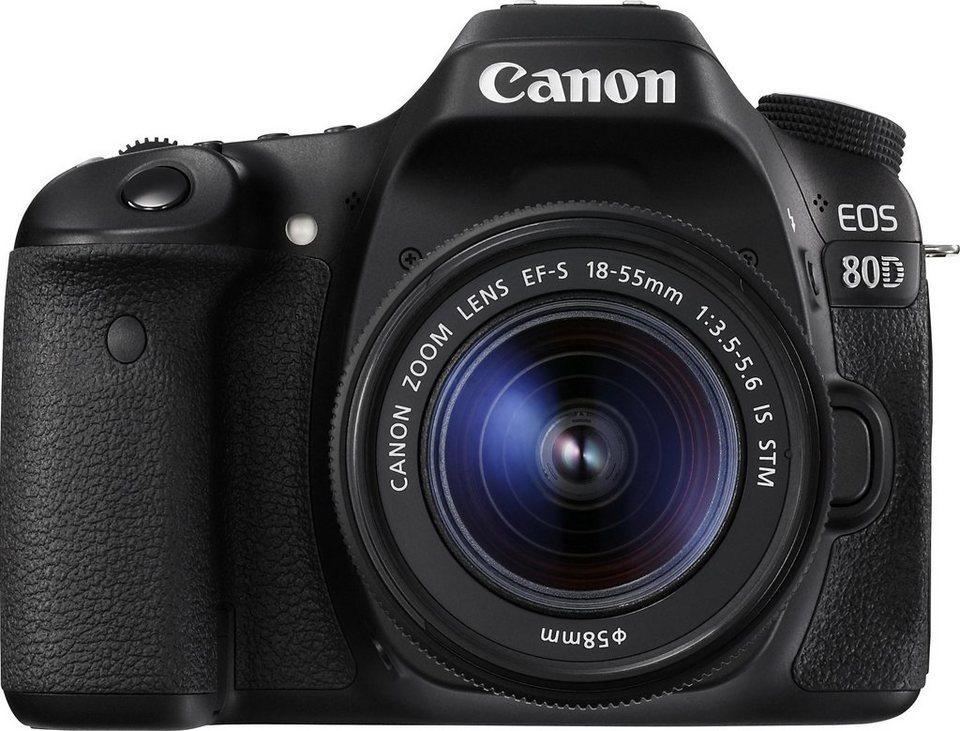 Canon EOS 80D EF-S 18-55 IS STM Spiegelreflex Kamera, Canon EF-S 18-55mm f/3.5-5.6 Zoom in schwarz