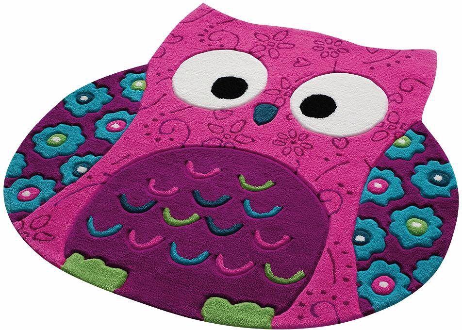 Kinder-Teppich, Smart Kids, »Little Owl«, in Eulenform, handgetuftet in pink
