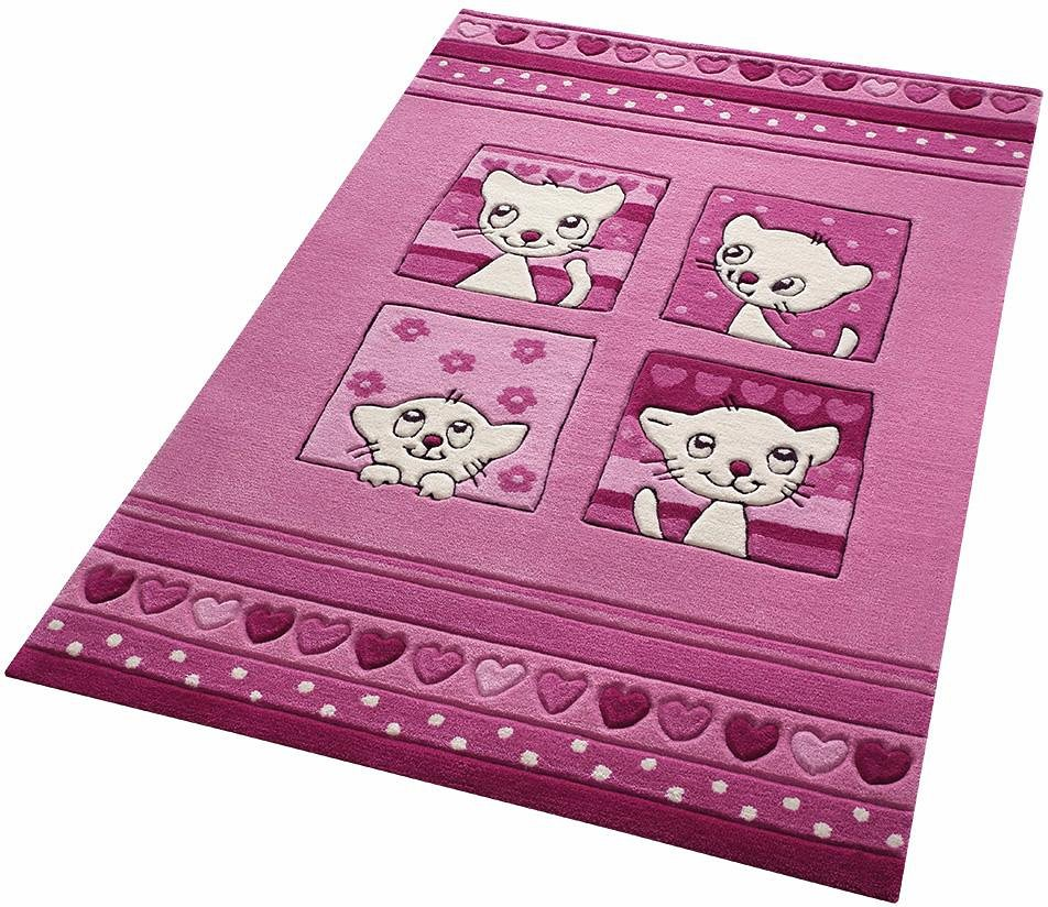 Kinder-Teppich, Smart Kids, »Kitty Kat«, mit Katzen, handgetuftet in pink