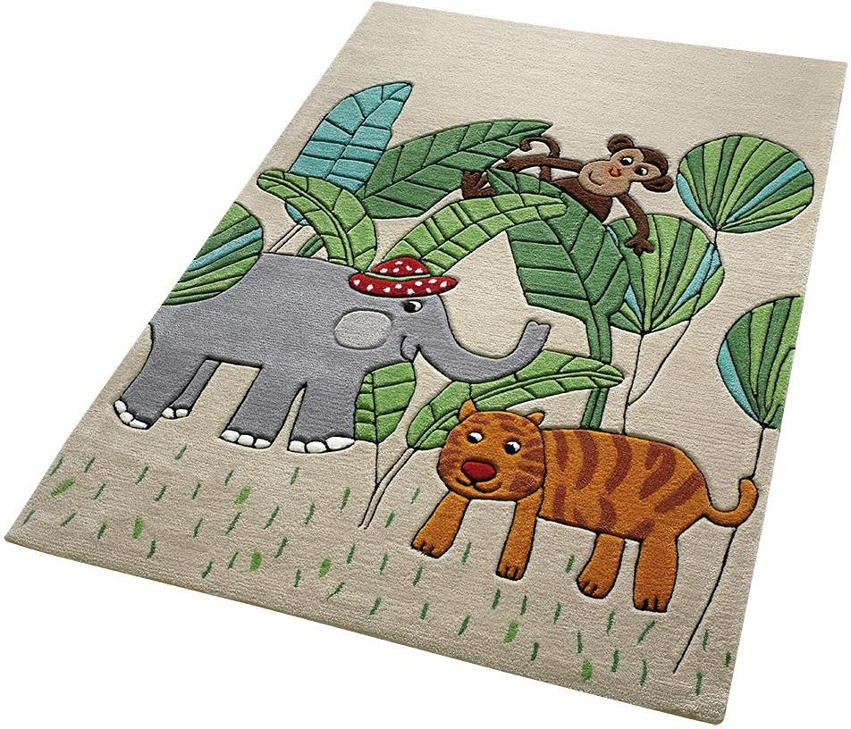 Kinder-Teppich, Smart Kids, »Jungle Friends«, Tiermotiv, handgetuftet in beige