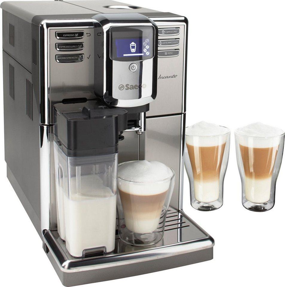 Saeco Kaffeevollautomat HD8917/01 Incanto mit Milchkaraffe, inkl. 2x Latte Macchiato Gläser in edelstahl