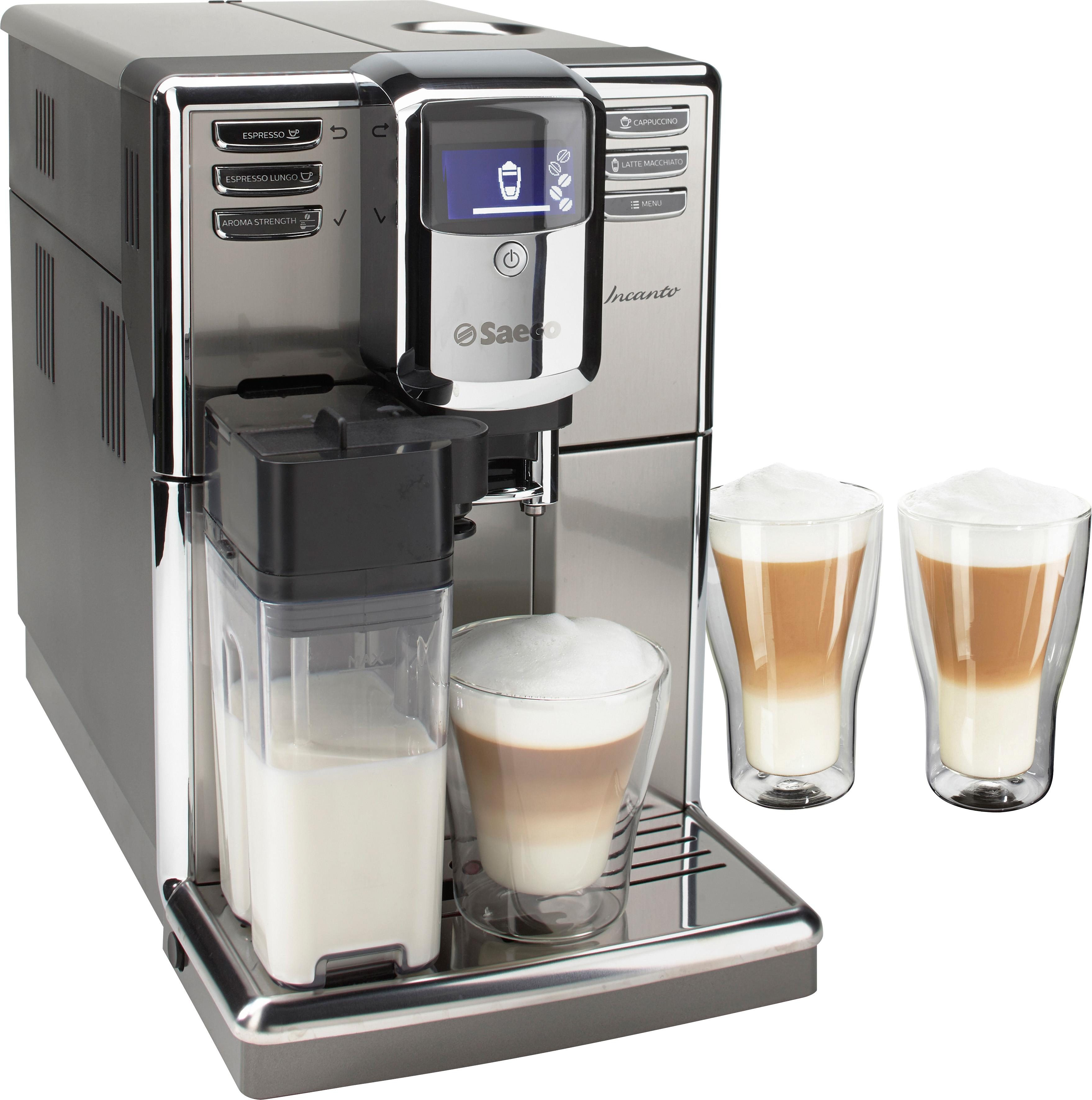 Saeco Kaffeevollautomat HD8917/01 Incanto, 1,8l Tank, Scheibenmahlwerk, inkl. 2x Latte Macchiato Gläser