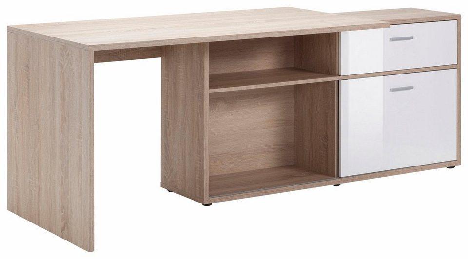 FMD Eck-Schreibtisch »Diego« in eichefb./weiß HG