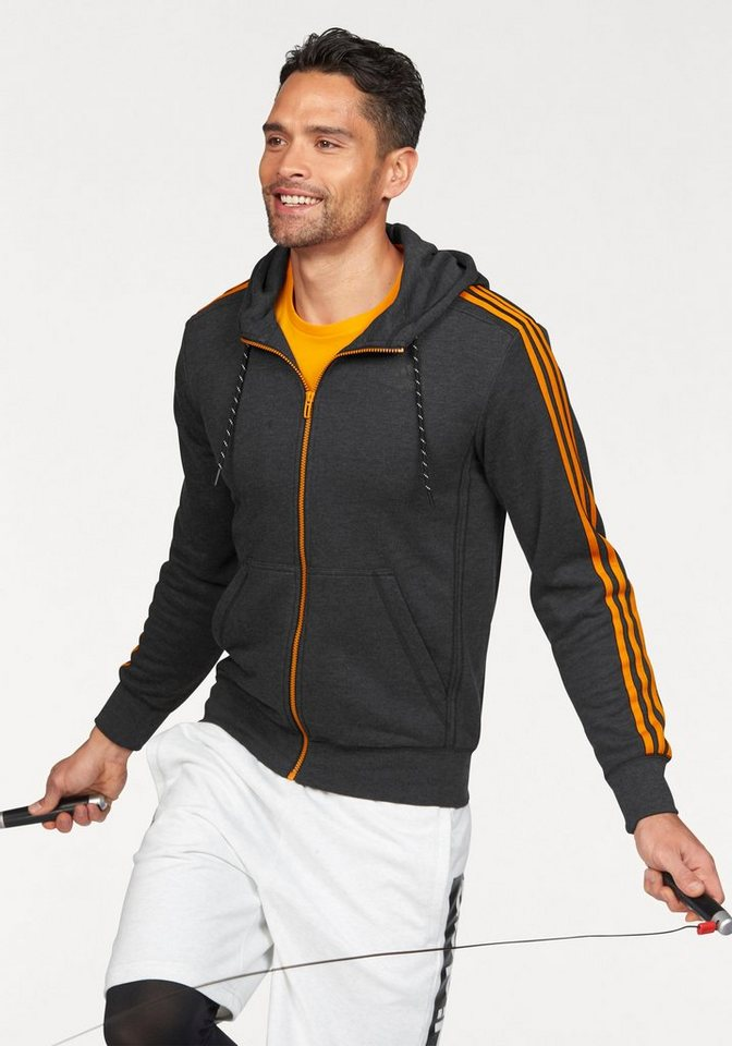 adidas Performance ESSENTIALS 3S HOODIE FRENCH TERRY Funktions-Kapuzensweatjacke in Anthrazit-Orange