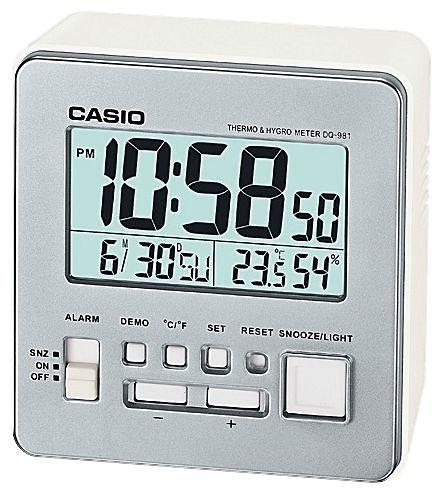 Casio Wecker, »DQ-981-8ER« in weiß-silberfarben