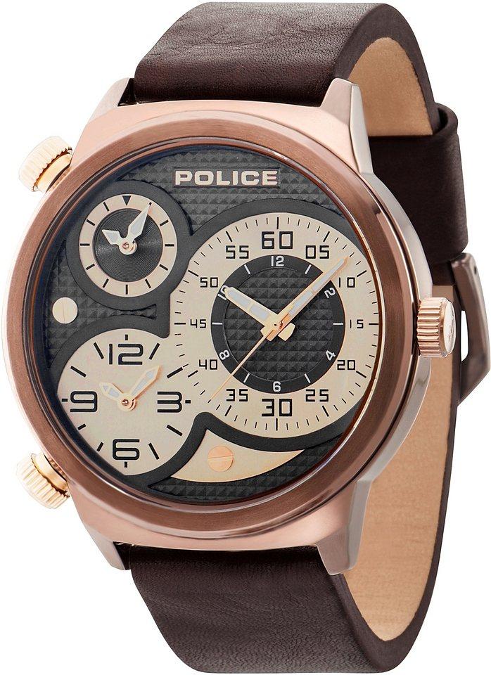 Police Multifunktionsuhr, »ELAPID, PL.14542JSBN/65« in braun