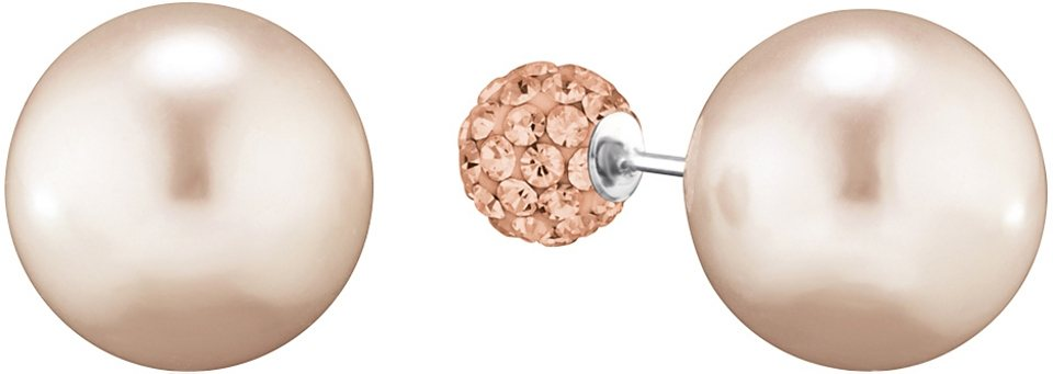 NAHU Paar Ohrstecker Doubleface mit Preciosa Crystal, »Orion, NAE-ORION-04« in Silber 925/beige