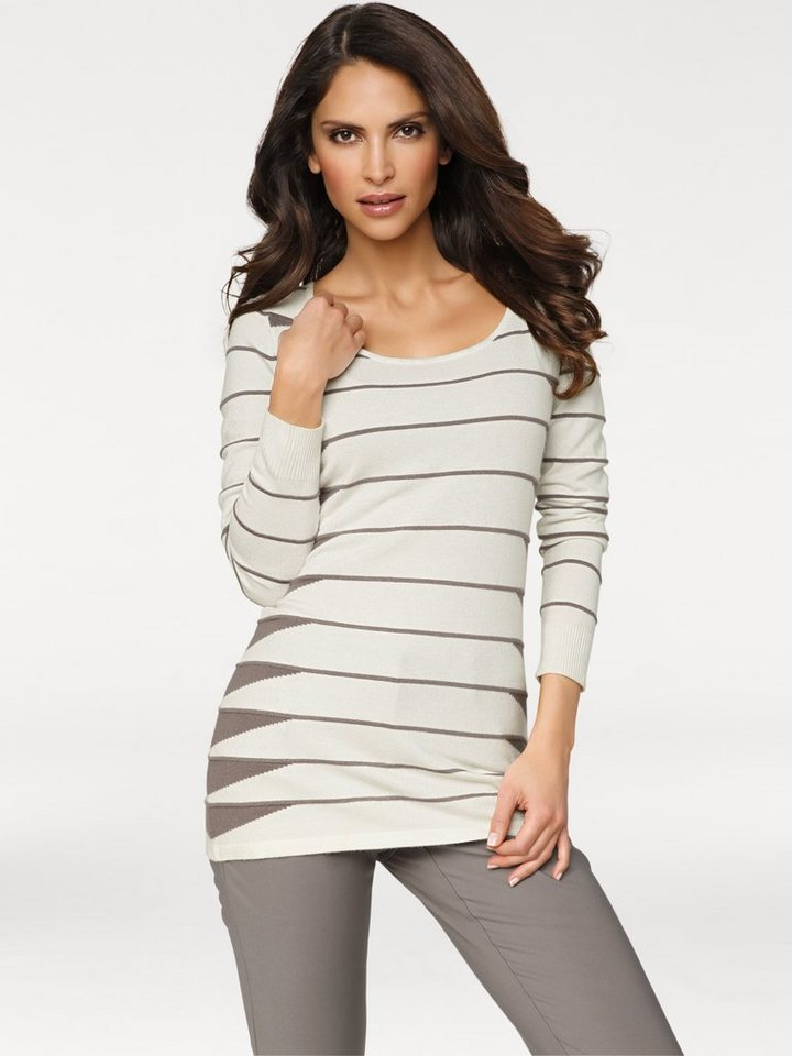 ASHLEY BROOKE by Heine Longpullover mit Ringel in offwhite/taupe