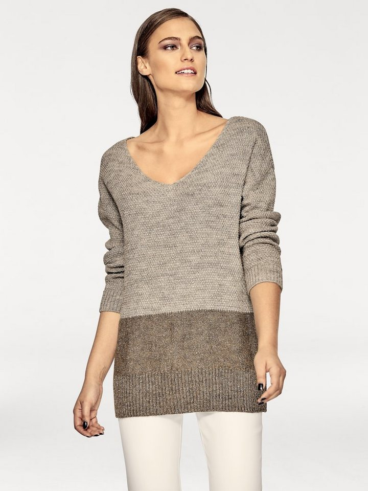 Lurexpullover in taupe/sand