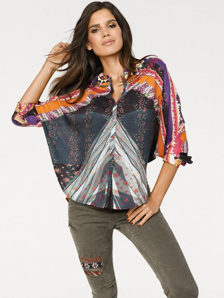 Oversized-Bluse von DESIGUAL in orange/grau