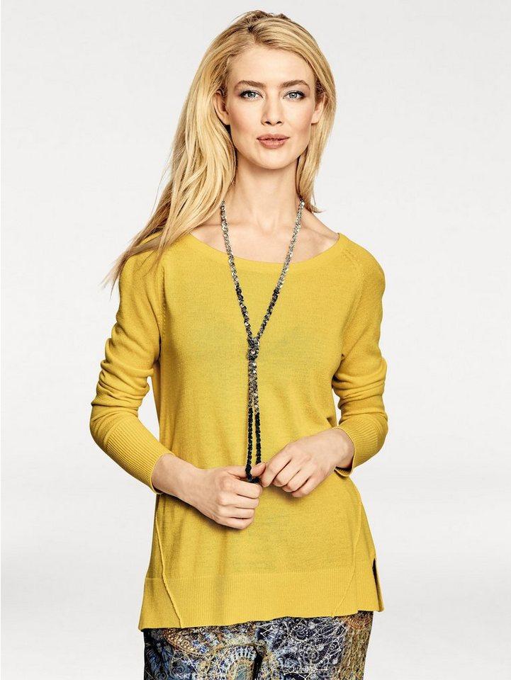 Rundhalspullover in gelb