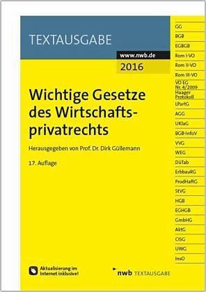 Broschiertes Buch »Wichtige Gesetze des Wirtschaftsprivatrechts«