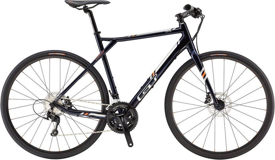 GT Fitnessbike, 28 Zoll, 20 Gang Shimano Kettenschaltung, blau, Herren, »Grade Flatbar Expert« in blau