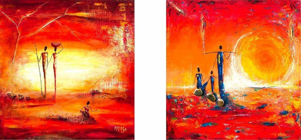 Home affaire, Deco-Panel, »Sonnenbild«, 2x 30/30 cm in rot/orange