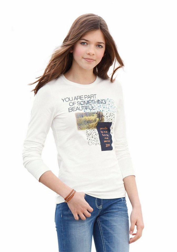 s.Oliver RED LABEL Junior Langarmshirt mit Fotodruck, für Mädchen in Natur