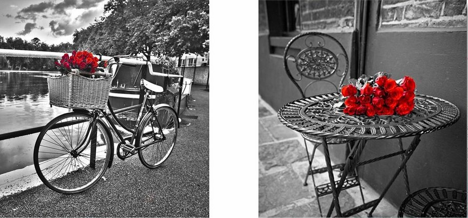 Home affaire, Deco-Panel, »Rosen mit Fahrrad und Tisch«, 2x 30/30 cm in grau/rot