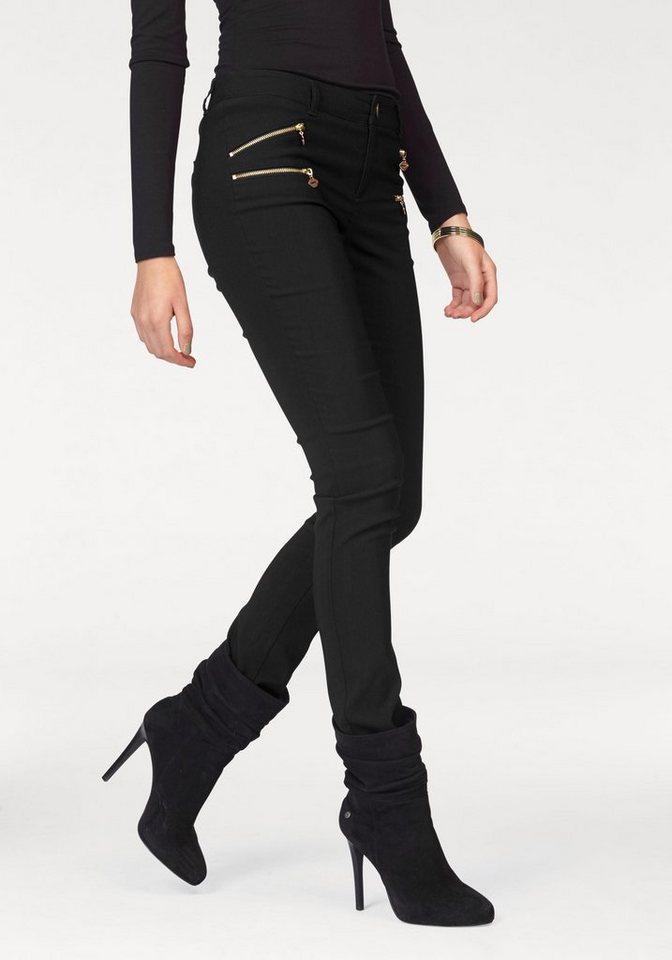 Melrose Stretch-Hose mit Zier-Reißverschlüssen in schwarz