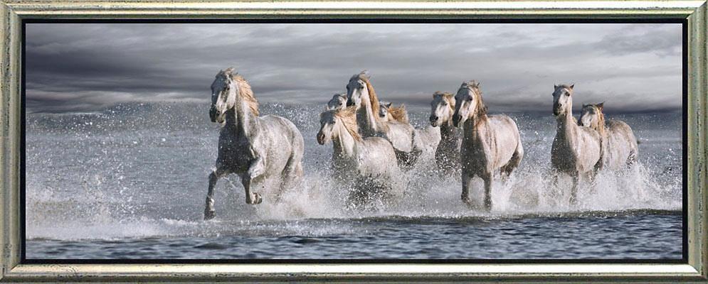Home affaire, Schattenfugenbild, »Rennende Pferde im Wasser«, 100/38 cm