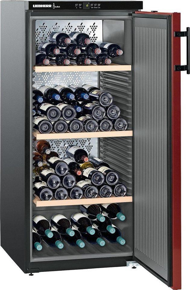 Liebherr Weinkühlschrank WKr 3211-21, A++, 135 cm, für 164 Bordeauxflaschen á 0,75l in bordeauxrot/schwarz