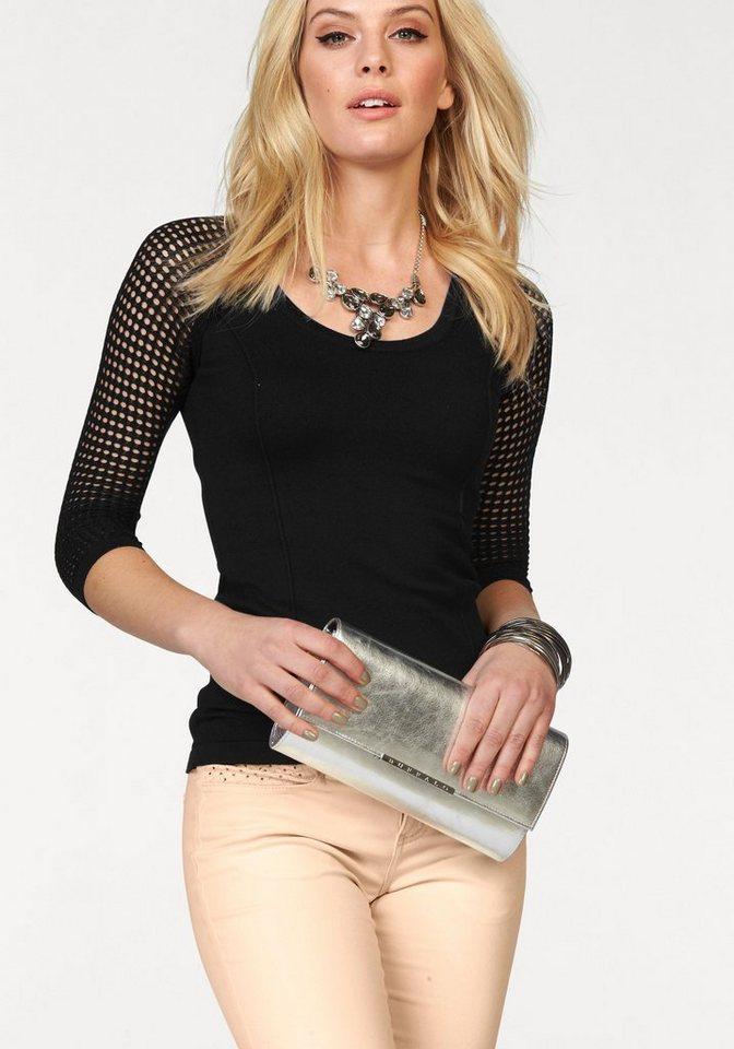 Melrose Rundhalspullover mit Netzärmeln in schwarz