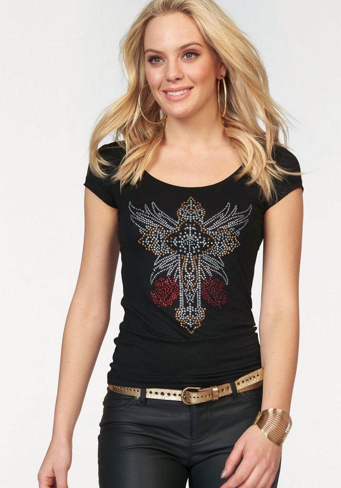 Melrose Rundhalsshirt mit Glitzersteinen in schwarz
