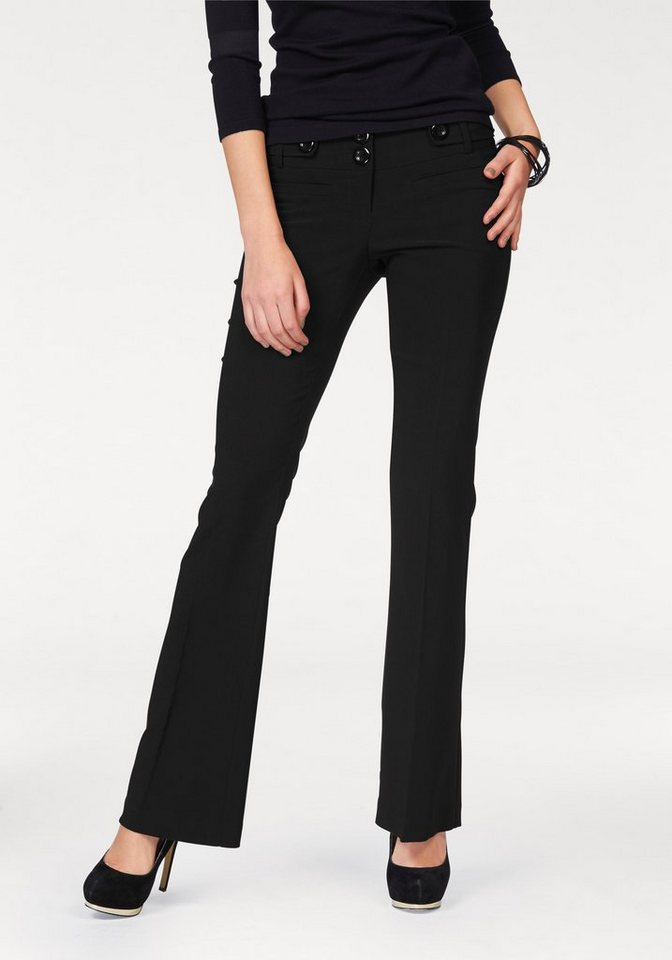 Melrose Stretch-Hose in Bootcut-Form in schwarz