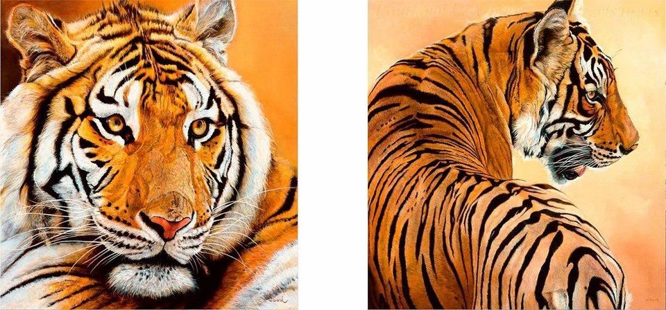 Home affaire, Deco-Panel, »Tigerportrait«, 2x 30/30 cm in braun