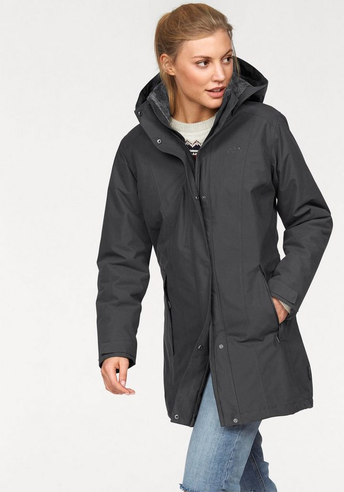 Jack Wolfskin Wintermantel »5TH AVENUE COAT« mit wind- und wasserdichtem Obermaterial in anthrazit