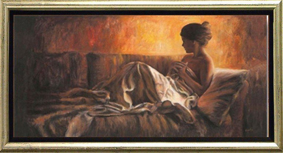 Home affaire, Schattenfugenbild, »Frau auf Sofa«, 105/55 cm in braun