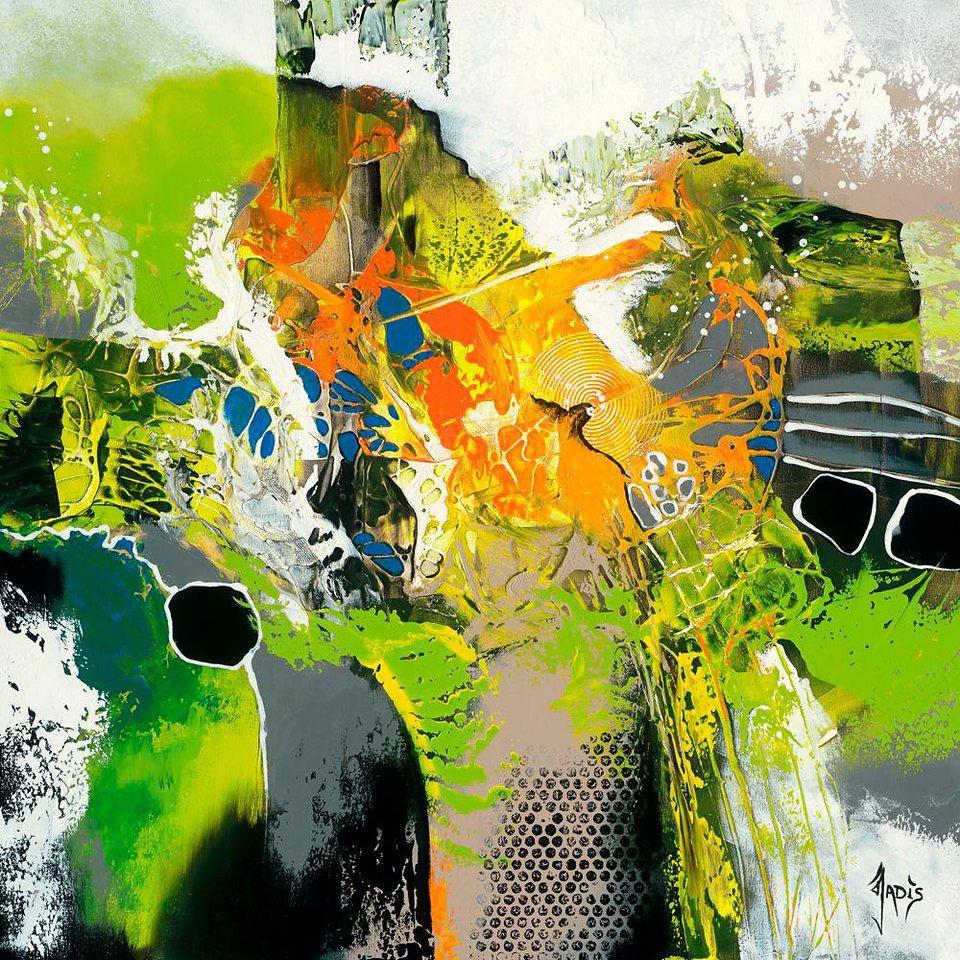 Home affaire, Deco Panel, »Farbwelten II«, 70/70 cm in grün/gelb