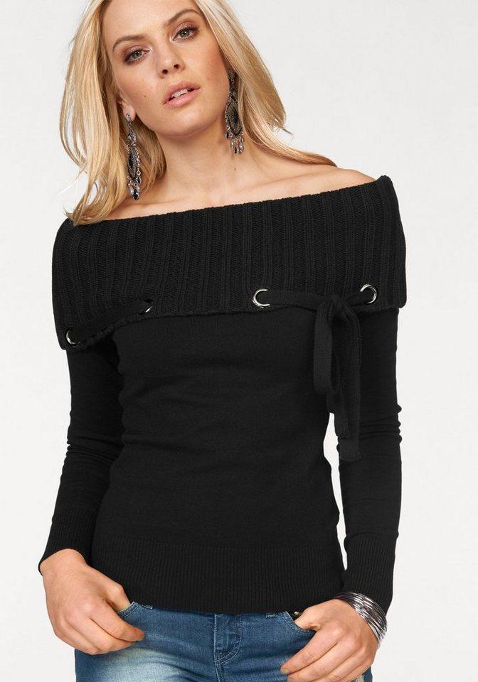 Melrose Carmenpullover mit großen Ösen und Zierband in schwarz