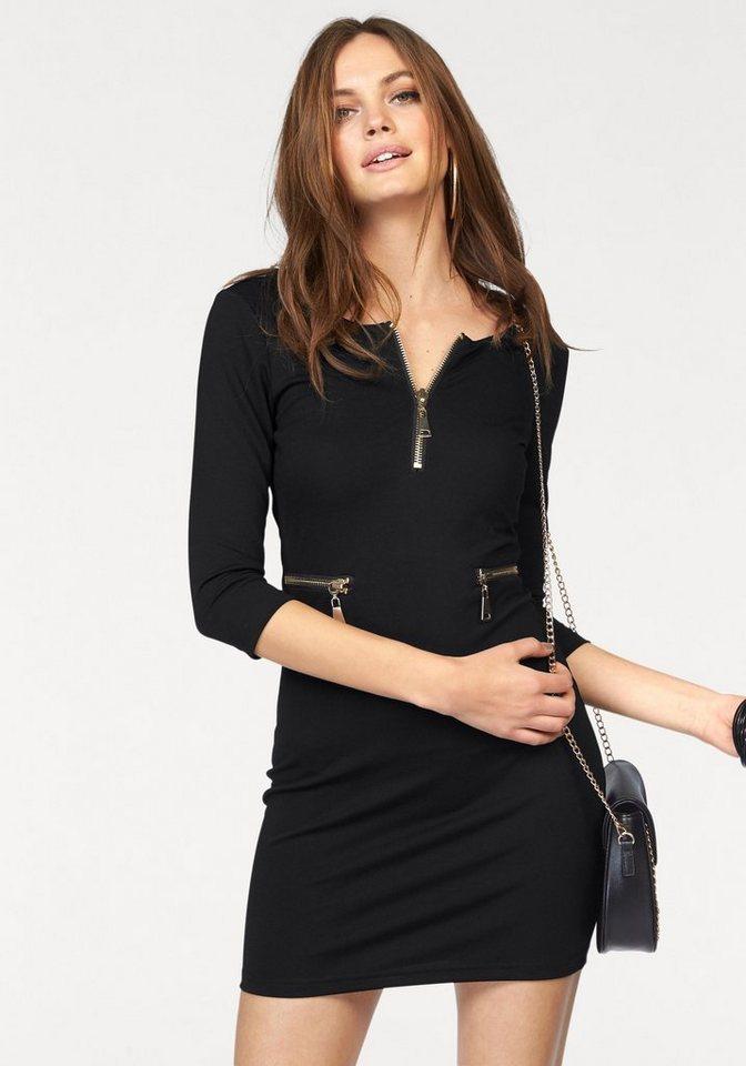 Melrose Jerseykleid mit Zipper-Details in schwarz