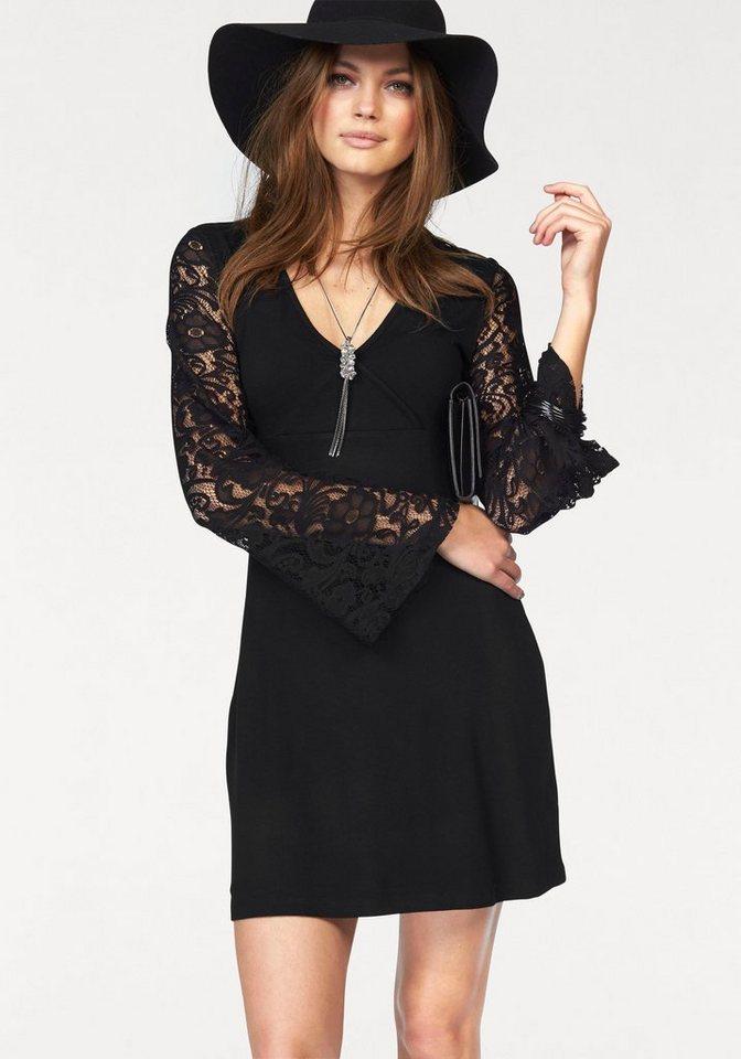 Melrose Jerseykleid mit Spitzenärmeln in schwarz