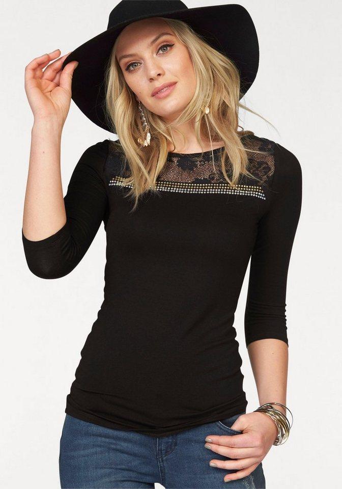 Melrose 3/4-Arm-Shirt mit Spitzeneinsatz und Strass in schwarz