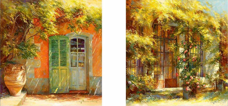 Home affaire, Deco-Panel, »Die Orangerie«, 2x 30/30 cm in orange/hellg
