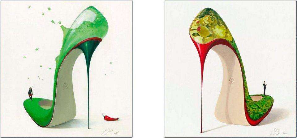 Home affaire, Deco-Panel, »Getränk in High Heels«, 2x 30/30 cm in grün/creme