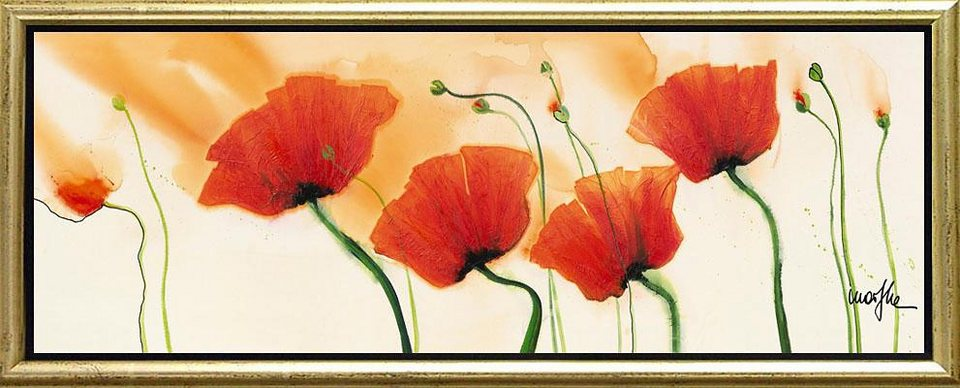 Home affaire, Schattenfugenbild, »Mohnblumen«, 100/38 cm in orange/creme