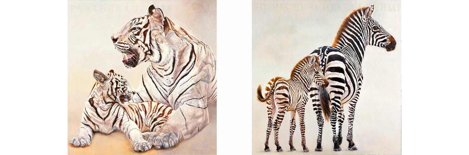Home affaire, Deco-Panel, »Zebra und weiße Tiger«, 2x 30/30 cm