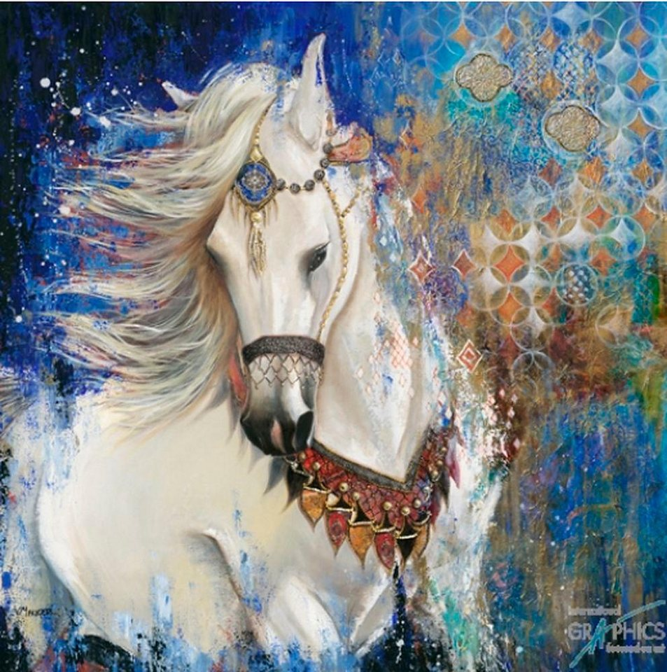 Home affaire, Deco Panel, »Geschmücktes Pferd«, 70/70 cm in weiß/blau