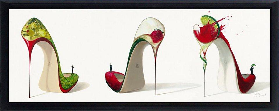 Home affaire, Schattenfugenbild, »Schuhe als Cocktailglas«, 100/38 cm in rot/grün/weiß