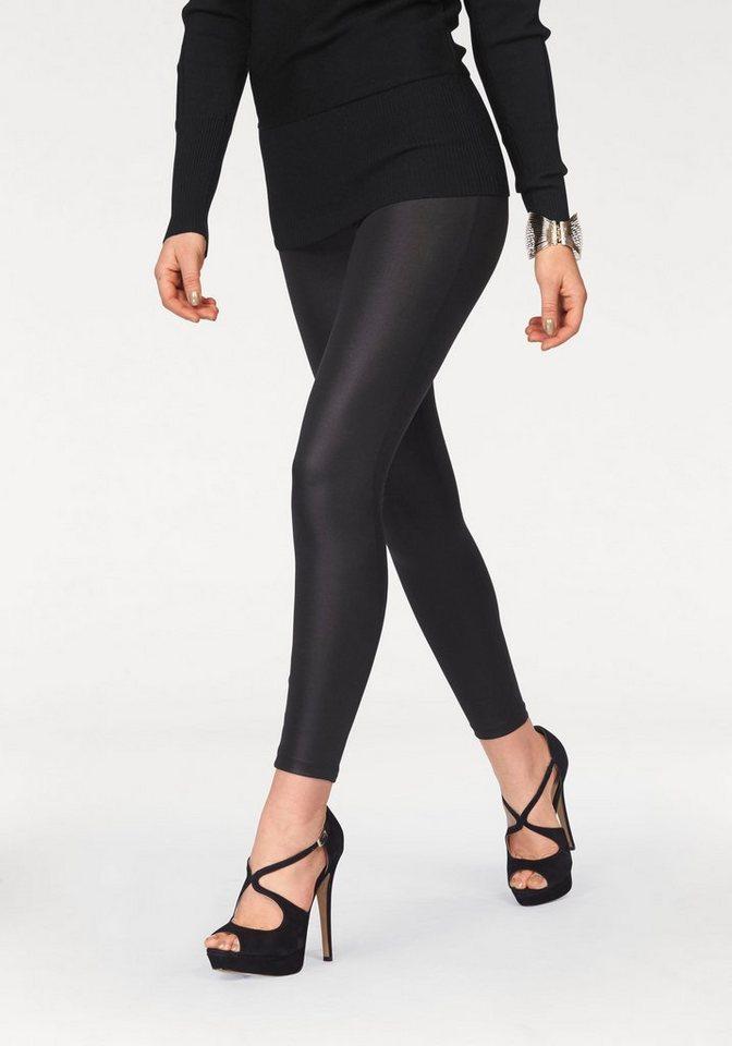 Melrose Leggings in Wetlook-Optik in schwarz