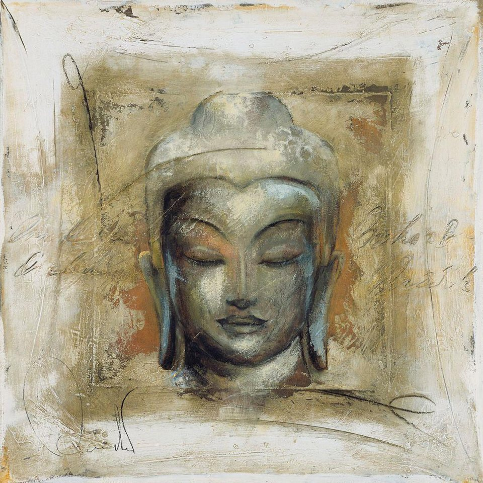Home affaire, Deco Panel, »Buddhakopf: innerer Friede«, 70/70 cm in beige/anthrazit