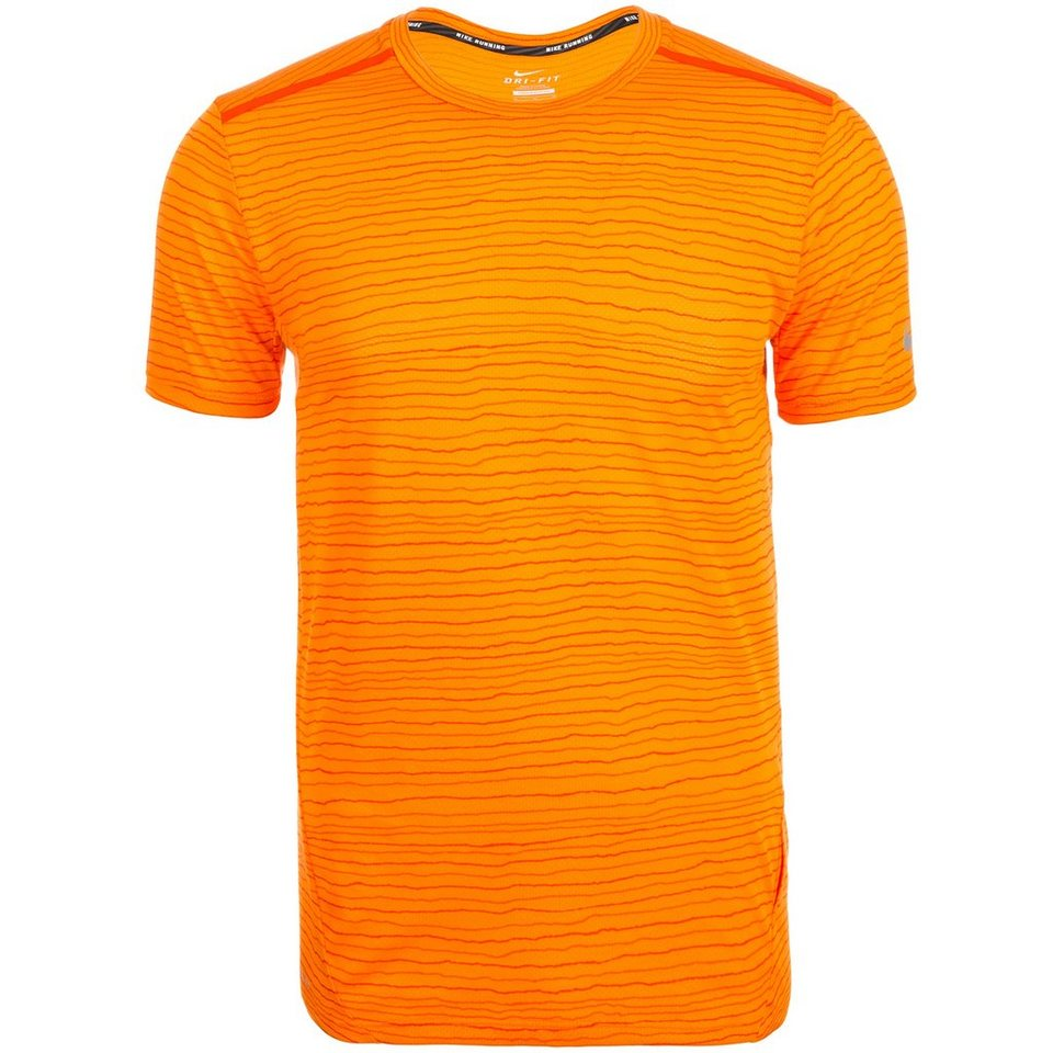 NIKE Dri-FIT Cool Tailwind Stripe Laufshirt Herren in orange / silber