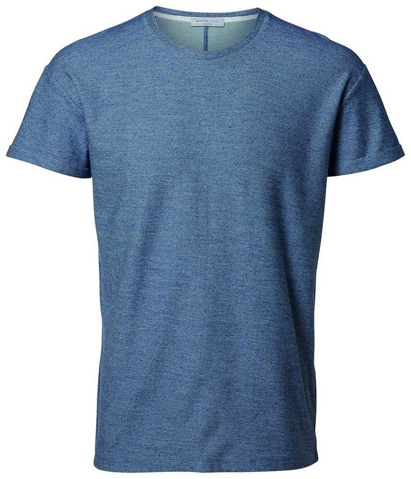 Selected Rundausschnitt T-Shirt in Faded Denim